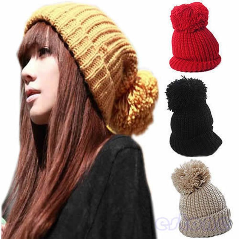 Hight Quality Women's Winter Slouch Knit Cap Warm Oversized Cuffed Beanie Crochet Ski Bobble Beanies knitting wool Hat