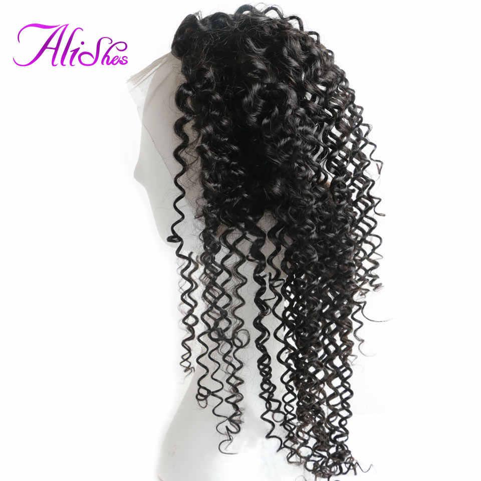 Лаки предварительно сорванные 360 Кружева Фронтальные Малазийские Вьющиеся Волосы Закрытие с волосами младенца натуральные волосы линии не Реми человеческие волосы закрытие