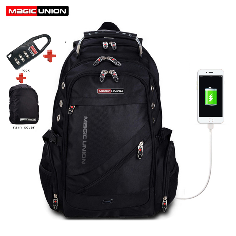 MAGIC UNION Laptop Bag External USB Charge Computer Backpacks Anti-theft Men Waterproof Bags backpack with Lock Raincover