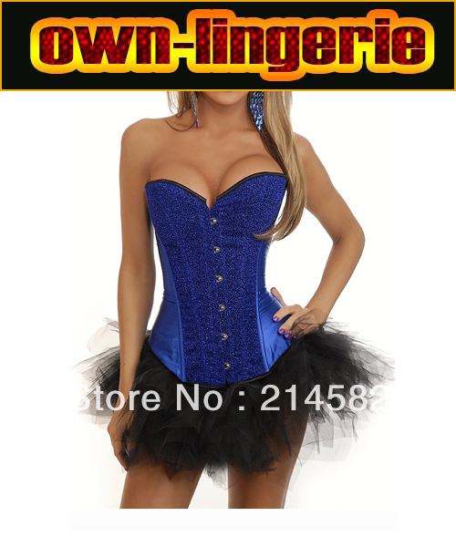 Free Shipping Drak Blue Sapphire Strapless Overbust   Bustiers   Paillette   Corsets   with Tutu Skirt w7063