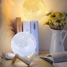 3D Print Rechargeable LED Moon Lamp USB LED Night Light Moonlight Touch Sensor for Kids Lovers Gift Home Decor
