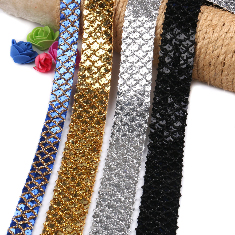 2 Yards/Lot Beautiful Sequins Sewing Lace Ribbon Mesh DIY Dress Cloth Lace Fabric Trim Wedding Party Ribbons Decoration