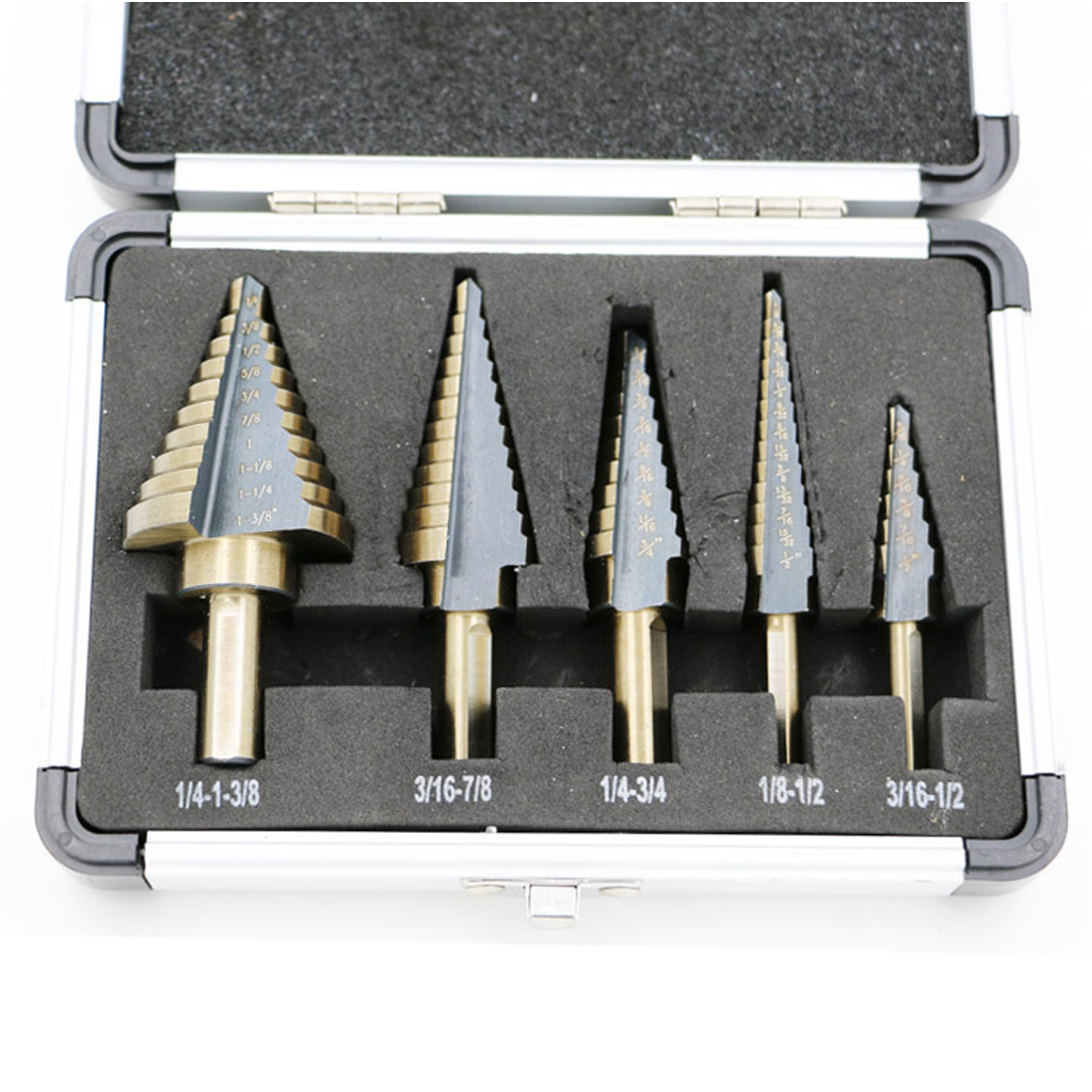 Drill Bit Set 5pcs Hss Cobalt Multiple Hole 50 Sizes Step Drills 1/4-1-3/8 3/16-7/8 1/4-3/4 1/8-1/2 3/16-1/2 Drill Bits 5pcs step drill bit set hss cobalt multiple hole 50 sizes sae step drills 1 4 1 3 8 3 16 7 8 1 4 3 4 1 8 1 2 3 16 1 2 drill bits