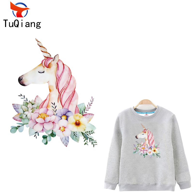 5pcs Flowery Unicorn horse Patch Flower Patches For Clothes T-shirt Dresses Sweater Transfer Applique DIY Decoration For Girls