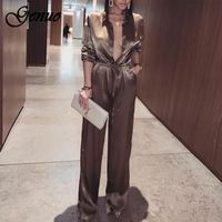 Genuo Elegant Loose Satin Bodycon Bandage Jumpsuit Women 2019 Spring Sexy Solid Lapel Deep V Neck Playsuits Ladies Streetwear