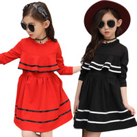 Girls Clothing Dress Spring Autumn Baby Outfits Casual Pure Princess Dresses Cute Doll Collar Long Sleeve