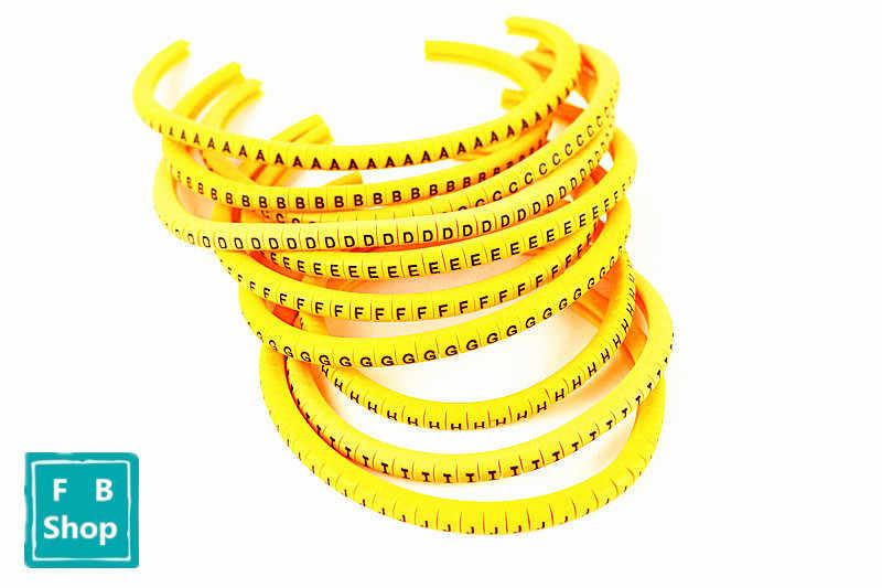500 шт./лот маркер кабеля EC-1 2.5кв. Мм A-J ABCDEFGHIJ желтый 10 различных букв