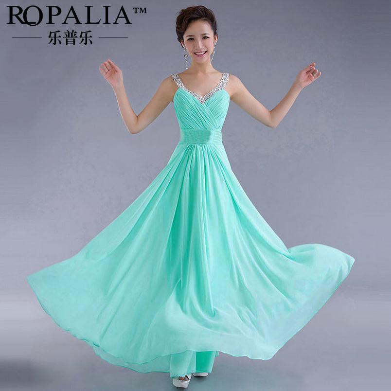 Элегантное женское платье для свадебной вечеринки, шифоновое платье в пол на тонких бретелях, большие размеры XL, платья подружек невесты CK67 - Цвет: light blue