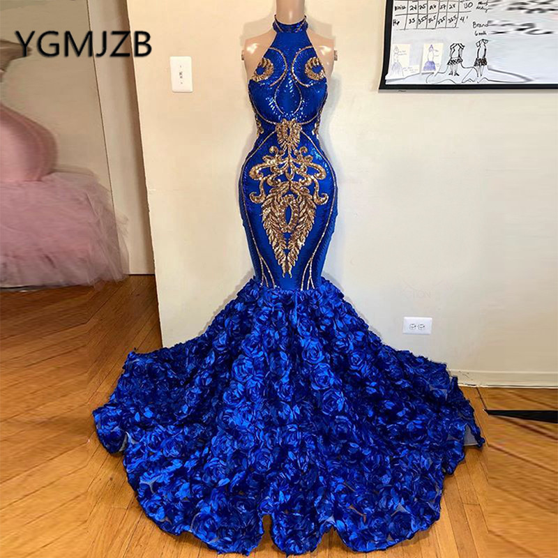 Sexy Long Evening Dresses 2020 Mermaid Sparkle Halter 3D Flowers Gold Sequin African Black Girl Royal Blue Prom Dresses