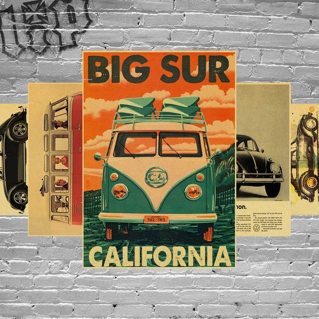 Wall Sticker Vintage Signs VW Bus Poster Retro Kraft Paper Home ...