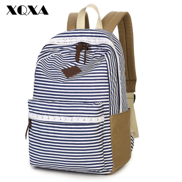 XQXA School Bags For Teenager Girls Cute Striped Printing Lace Canvas Backpack Ladies Mochila Casual Bag School Backpack women