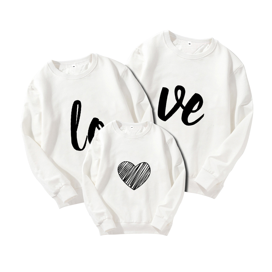 Household Matching Mom Daughter Father Sweatshirt Autumn Winter Cotton Mother Son Children Hoodies Love Letters Household Matching Outfits
