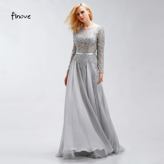 Finove Crystal Beading Prom Dresses 2018 New Style Elegant Scoop Neck Sexy  See-Through Long Sleeve Chiffon Fabric Party Dresses 863c7152db10