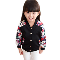 kids jackets for girls 2017 new baby girl jackets floral printed jackets for girls long sleeve spring baseball jacket 2-7T