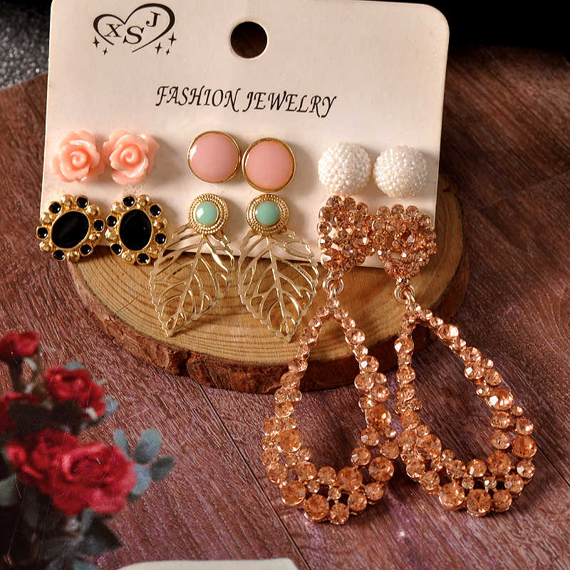 New fashion women accessories wholesale girls birthday party mix-and-match 6 pairs /set pretty pendant earrings acting shipping