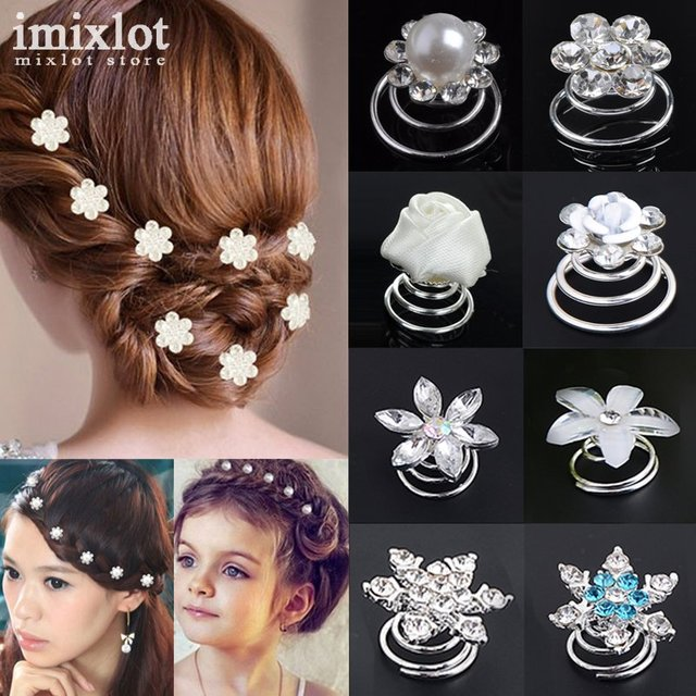 12Pcs/Set Wedding Bridal Silver Diamante Crystal Hair Twists Swirls Hairpins Spi