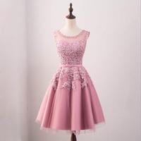 Bridesmaid Dresses Pink Beads Pretty Embroidery Lace Flowers Design Women Elegant Round Neck Sleeveless 2017 Wedding