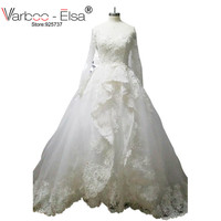 Vestidos De Novias Elegant Off The Shoulder Sweetheart Long Sleeve Wedding Dress Lace Applique Ruffles A