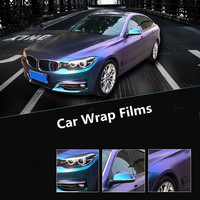 Pearl Glossy Chameleon Vinyl Sticker Purple Blue Vinyl Car Wrap Film With Air Bubble Styling Color Changing Film 1.52m x 20m