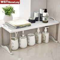 WSTNewLay Branco Cozinha Banheiro Prateleira Do Banheiro Rack de Espaço Organizador Titular Shampoo Prateleira de Canto Prateleira Do Banheiro de Plástico Móvel
