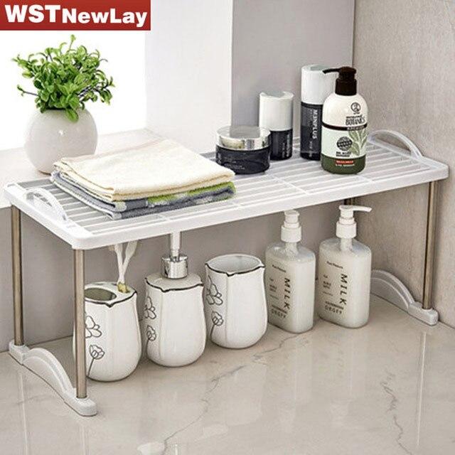 WSTNewLay White Bathroom Kitchen Shelf Rack Bathroom Plastic ...
