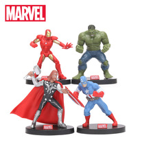 4st 10cm Avengers Figur Set Superhero Thor Hulk Ironman Captain America Action Figur Collectible Model Doll Marvel Leksaker