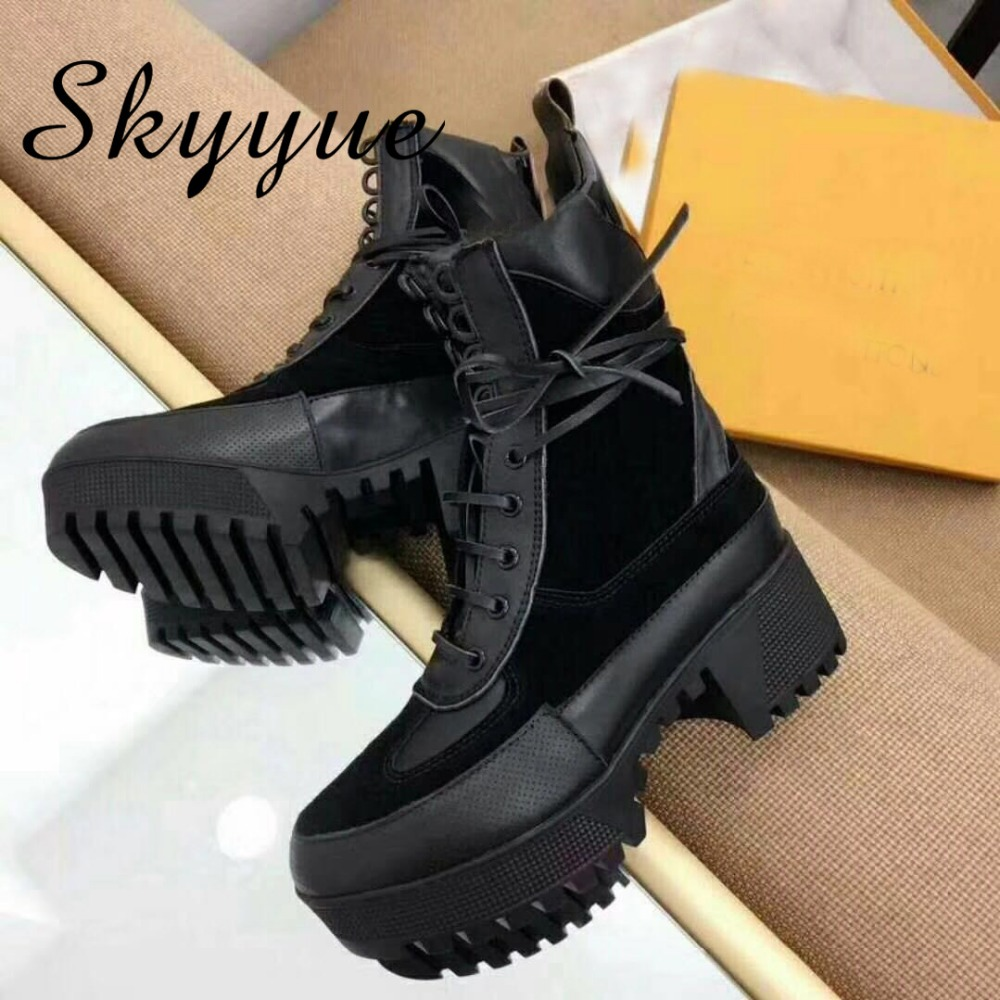 SKYYUE New Genuine Leather Rome Gladiator Lace Up Women Ankle Boots Round Toe Thick Heel Women Warm Boots Shoes Women 2017 new heavy bottomed genuine leather women boots black brown solid boots women shoes thick with round lace ankle boots zk2 5