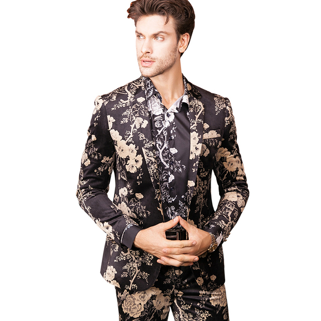 4be2faa61309c Luxury Brand Mens Floral Print Flower Suit Stage Clothing Men Vintage Style  wedding dress blazer high quality size M 3XL-in Blazers from Men's ...