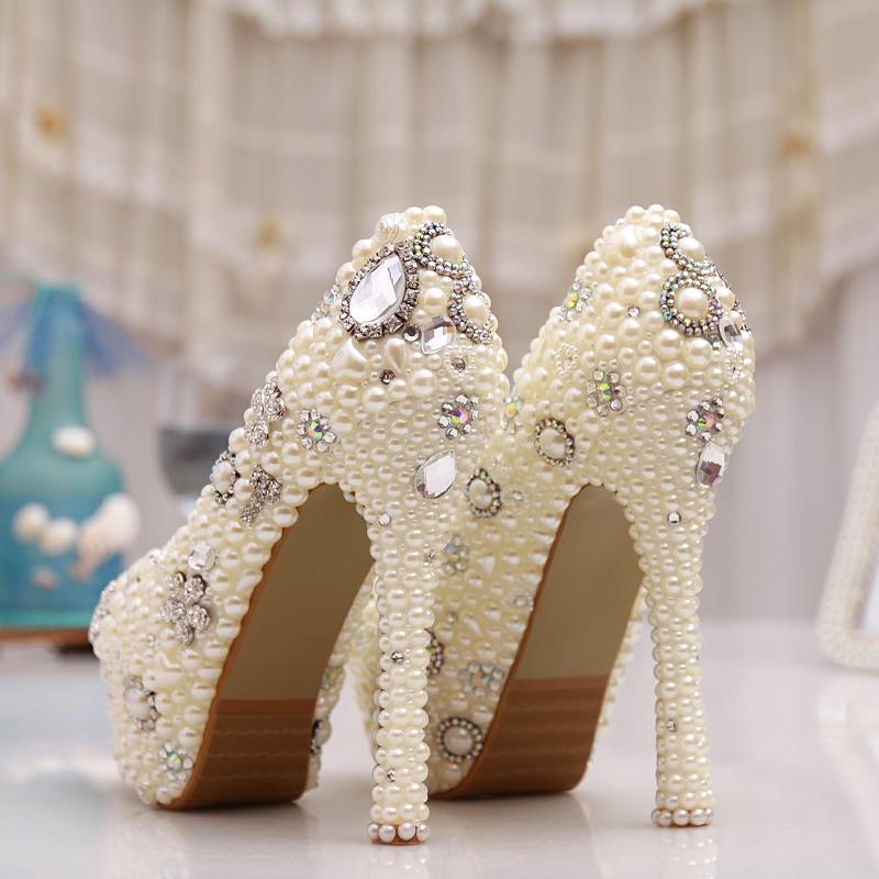ivory Pompes 12cm forme Véritable De 10cm Vrai Strass Cuir 14cm En Heels Perle Noce Custmoized Talons Plate Ivory Haute Taille Heels Chaussures 2018 Ivoire Femme gqw1aT