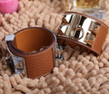 High quality Wide punk rivet Genuine Calf H Embossed Leather bangle 316L stainless steel bracelets pulseiras for women or men