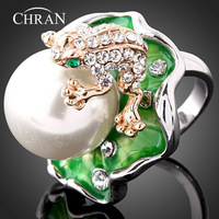 Chran Wholesale Gold Color Unisex Fashion Cute Frog Party Rings Vintage Jewelry For Women Enamel Lotus Pearl Jewelry Russia