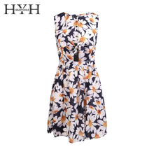 HYH HAOYIHUI Fashion Women Dress Cute Print Bow Casual Loose Sleeveless Summer Lace Up Ruffle Cut Out Slim Sweet O-Neck Dress casual sleeveless back cut out flare dress for women