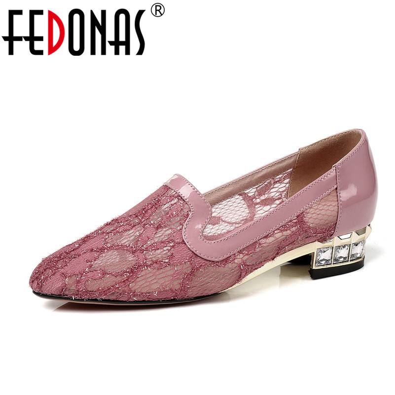 FEDONAS New 2020 Sexy Women Pumps Fashion Round Toe Low Heels High quality Elegant Wedding Party