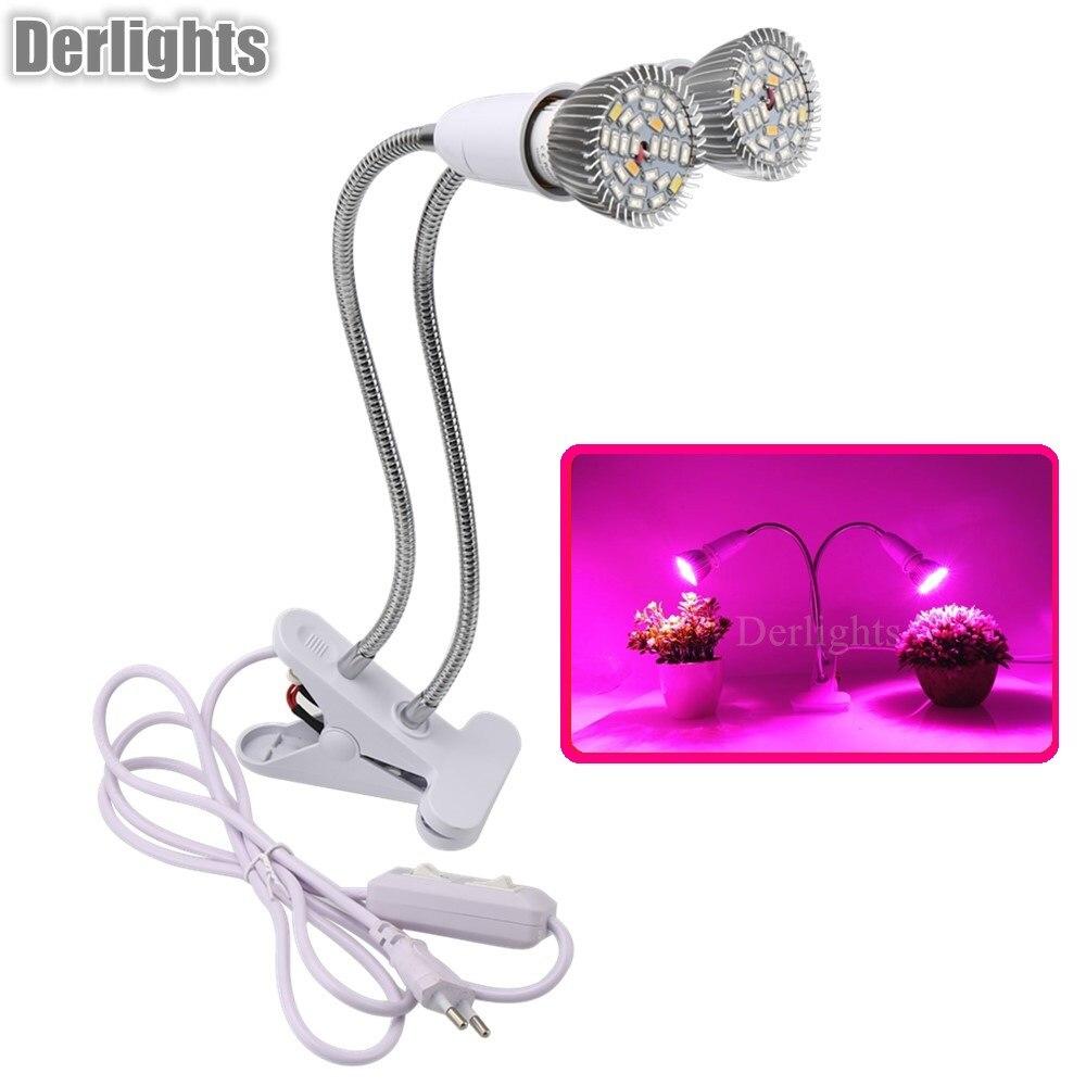 Double Tête 28 W LED Élèvent La Lumière 360 Flexible Lampe Usine Titulaire Clip Pour Plantes D'intérieur Fleur De Légumes de Serre Hydroponique
