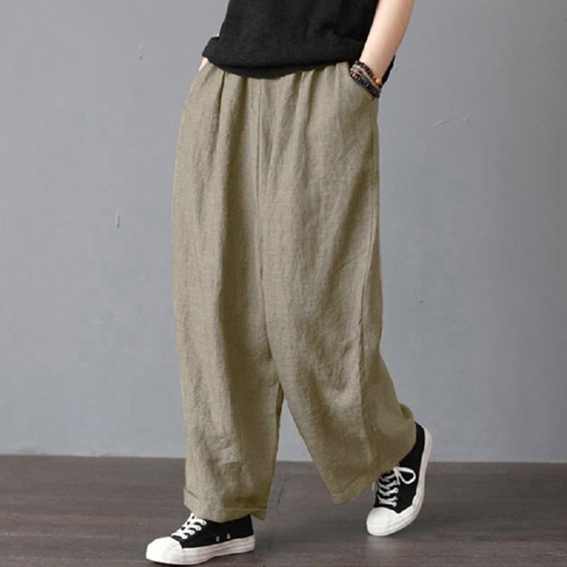 Women Summer   Wide     Leg     Pants   Casual Loose High Waist Pocket   Pants   Loose Solid Color Elasticated Trousers