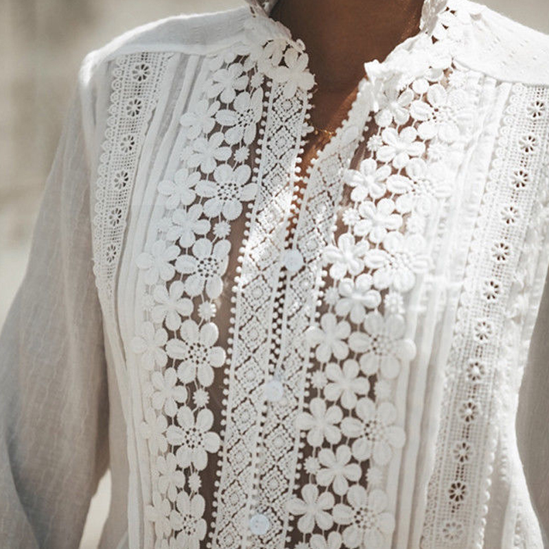 2019 Arrival Summer Blusa White Lace Cotton Blouse Shirt Elegant Women Tops Plus Size Sexy Hollow Out Shirts Women Clothes