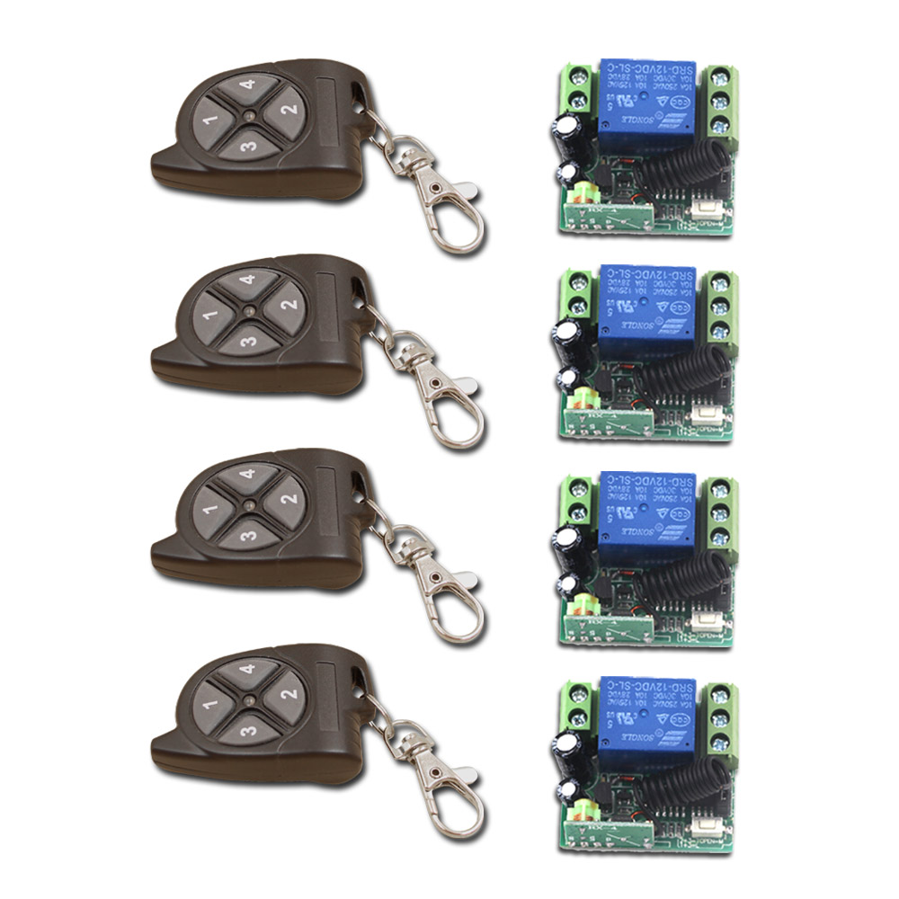 New Design DC12V Mini Sizes RF Wireless Remote Control Receiver Relay Switch 315/433 MHz Transmitter with 4 Keys Best Price new dc12v 10a mini 1ch rf wireless remote control 4 receiver 4 transmitter 315 433 mhz white black remote control with abcd key