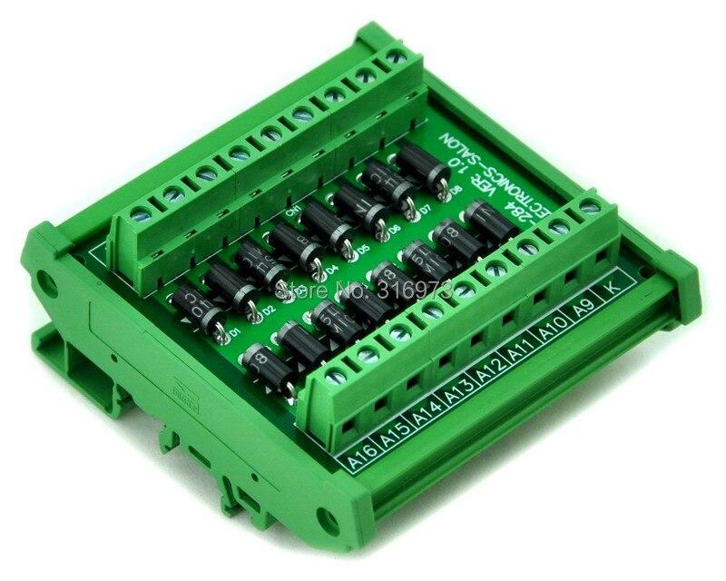 DIN Rail Mount 3 Amp 1000V Common Cathode 16 Diode Network Module, 1N5408.
