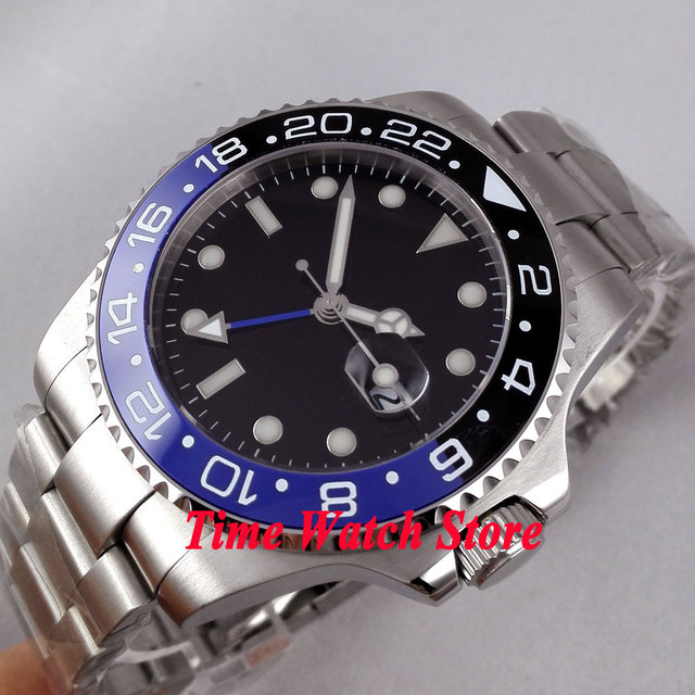 Bliger 43mm black dial blue GMT hands black blue Ceramic Bezel sapphire glass Automatic movement Men's watch 298