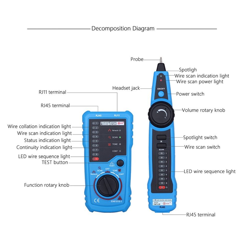 Telephone Wire Network Tracker Tracer Toner Ethernet LAN Cable Tester Detector Line Finder Gadgets RJ11 RJ45 Cat5 Cat6 in Circuit Breaker Finders from Tools
