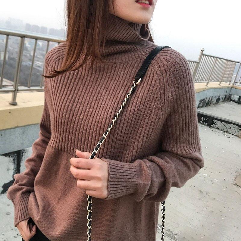 Высококачественный свитер с высоким воротом, Женский Зимний пуловер, кашемировый свитер, однотонный вязаный свитер, Осенний модный свитер