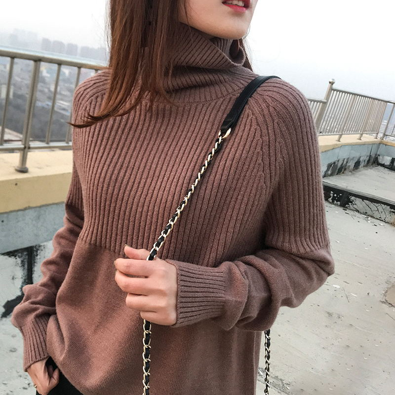 High Quality Turtleneck Sweater Ladies Winter Pullover Cashmere Sweater Solid Knit Sweater  Fall Fashion Sweater