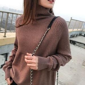 Image 1 - Suéter de cuello alto de alta calidad para mujer, Jersey de invierno, suéter de Cachemira, suéter de punto sólido, moda de otoño