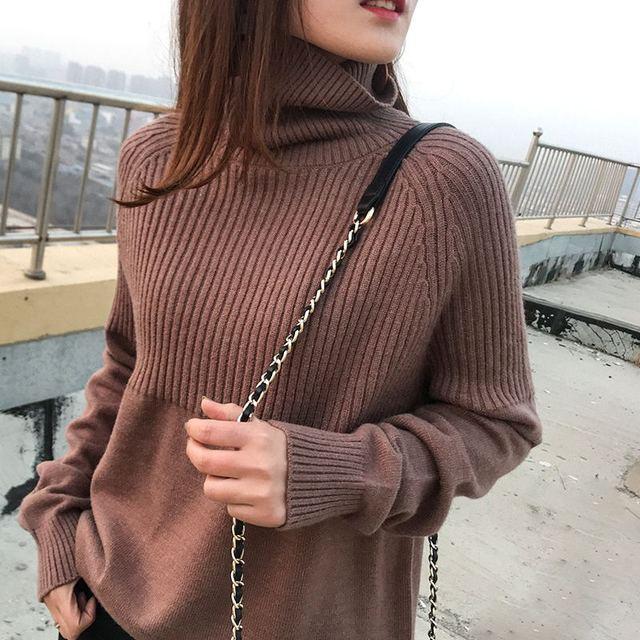 Suéter de cuello alto de alta calidad para mujer, Jersey de invierno, suéter de Cachemira, suéter de punto sólido, moda de otoño