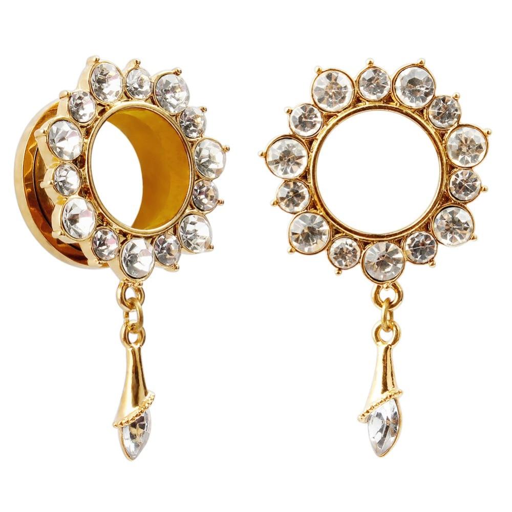 Jewelry amp watches gt fashion jewelry gt body jewelry gt body piercing - 2016 Fashion 2pcs Crystal Dangle Gold Design Ear Piercings Tunnel Plugs Body Jewelry Ear Expander Reamer