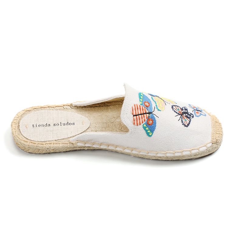 Tienda Soludos Women's Simple Mule Breathable Flat Espahemp Summer Rubber Cotton Fabric Floral Drilles Shoes, Pure Color Mules  2