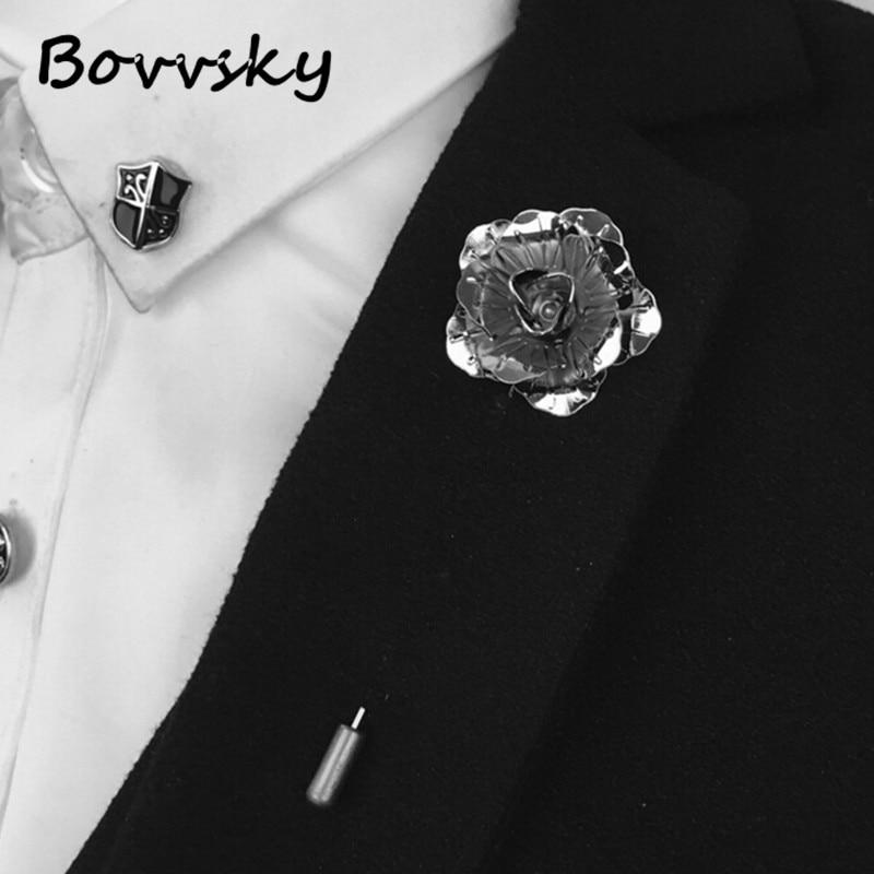 Stylish Beautiful Black Flower Lapel Pin: Aliexpress.com : Buy Bovvsky Gold Silver Black Rose Flower