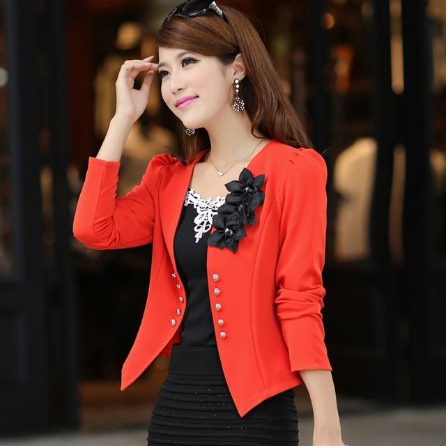 New blazer female 2016 slim outerwear blazer elegant  spring autumn outerwear coat  plus size women ladies jacket clothes