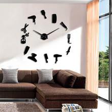 Barber Shop Hair Tools Large DIY Wall Clock Frameless Hair Salon Fashion Hairdresser Home Decor