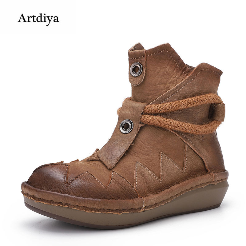 Artdiya Original 2018 Autumn / Winter New Thick-soled Ankle Boots Retro Genuine Leather Comfortable Soft-soled Women Boots 6035 цены онлайн